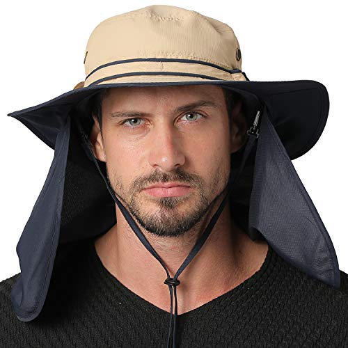 Jormatt Unisex UV Protection Outdoor Wide Brim Sun Hat UPF 50+ with Flap Neck Cover Foldable Fishing Safari Cap, Khaki