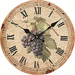 Moonluna Grape Rustic Wooden Wall Clock Christmas Farmhouse Gift for Living Room Bedroom Kitchen Home Decor 10 Inches