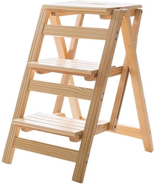 Plegables pasos de escalera Taburetes plegables para escalones Naturaleza Escalera de madera Silla Taburete Estantería portátil Escalera Hogar y biblioteca 3 pasos Capacidad de 150 kg, color de mad: Amazon.es: Hogar