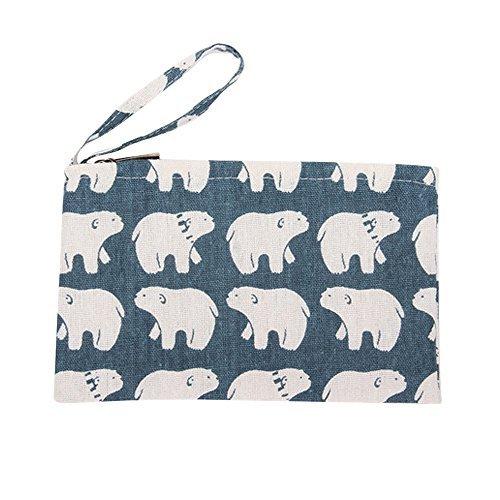 - Caixia Women's Cotton Cute White Bear Print Canvas Tote Shopping Bag Blue (Pouch)