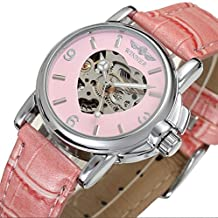 Mastop Women Heart Skeleton Automatic Mechanical WristWatches Pink Leather Band Watches