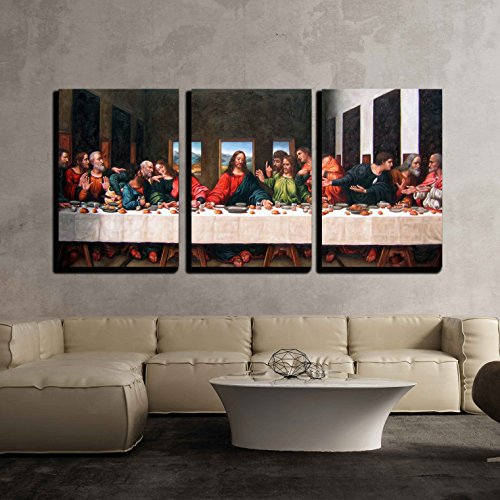 "Wall26 - 3 Piece Canvas Wall Art - the Last Supper by Andrea Solari Giclee - Modern Home Decor Stretched and Framed Ready to Hang - 16""x24""x3 Panels"