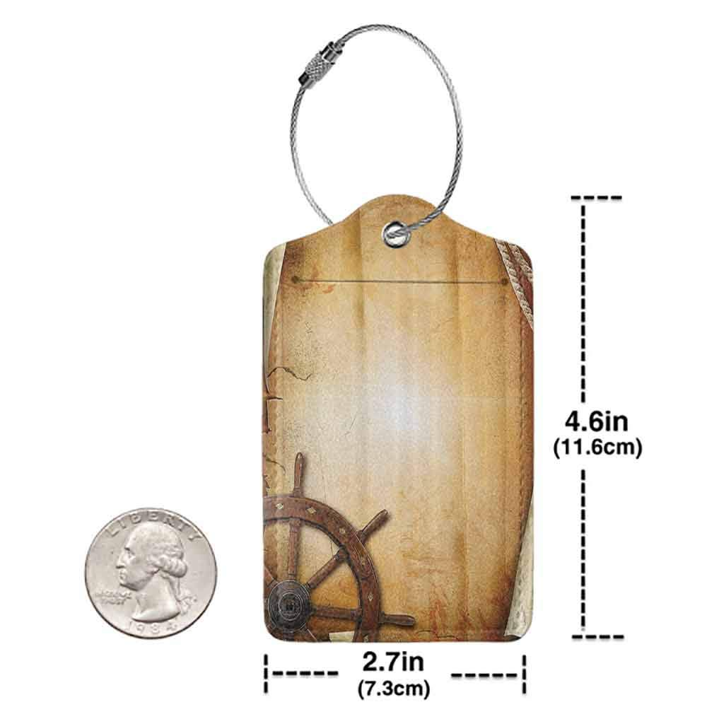 Multicolor luggage tag Ships Wheel Decor Illustration of Steering Wheel on Old Antique Paper Historic Traveling Maritime Art Hanging on the suitcase Brown W2.7 x L4.6