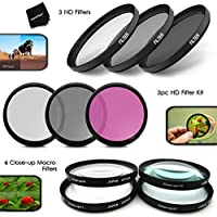 Ultimate 10pc 77MM Professional FILTERS KIT including: 77mm HD filters (UV CPL FLD) + 77mm ND Neutral Density Filters (ND2 ND4 ND8) + 77mm Close-up Macro Filters (+1 +2 +4 +10) + Filter Case + MORE