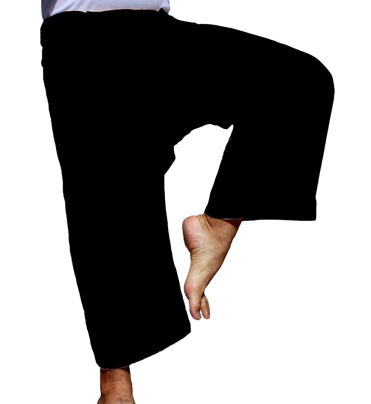 RaanPahMuang Brand Light Summer Cotton Thai Plus Fisherman Wrap Pants, XX-Large, Black by RaanPahMuang