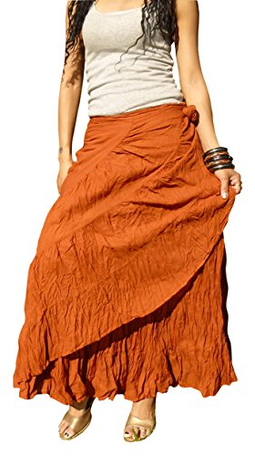 Billy's Thai Shop Sexy Wrap Skirt Pleated Gypsy Flamenco Long Skirts for Women, Terra S ()