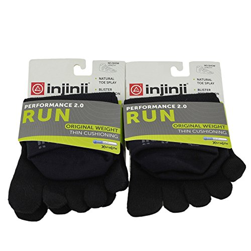 Injinji Unisex Run Original Weight Moderate Interface No Show Toesocks Bundle. - Injinji Performance Socks