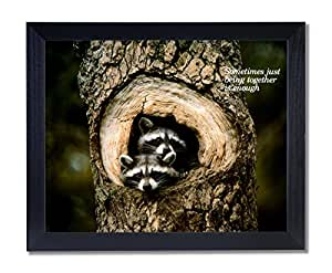 Solid Wood Black Framed Baby Raccoon Tree Hole Country Animal Wildlife Pictures Art Print
