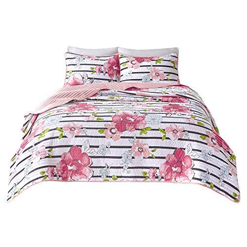 Comfort Spaces Zoe 3 Piece Quilt Coverlet Bedspread Adorable Ultra Soft Microfiber Printed Floral Design Bedding Set, Queen, Pink