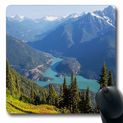 Ahawoso Mousepads Washington Blue Northwest Diablo Lake Nature Mountain Parks Green Pacific America Forest North Design Oblong Shape 7.9 x 9.5 Inches Non-Slip Gaming Mouse Pad Rubber Oblong Mat ()