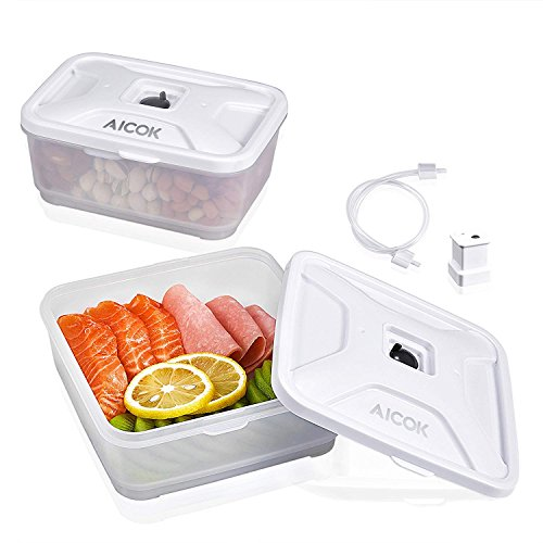 Food Storage Container Compatible with All Most of Vacuum Sealers(Such as FoodSaver, NutriChef, GERYON, etc), for Longer Vacuum Food Storage Containers BPA-Free and FDA Approval, 2-Piece