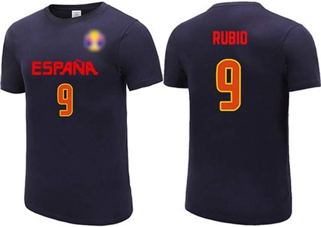 HS-XP Ricky Rubio No.9 España Equipo Nacional de la Camiseta, Jerseys de los Hombres, Alta Elasticidad/Ocasional de la Camiseta Unisex Transpirable, 2019 Baloncesto Copa del Mundo,M(167~172) CM: Amazon.es: Hogar