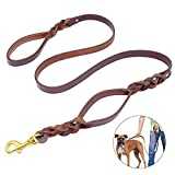 PET ARTIST Heavy Duty Genuine Leather Dog Leash with Traffic Handle for Great Control, Dog Training Leashes for Walking Training Medium Large Dogs,5 Feet, 3/4'' Width, Brown
