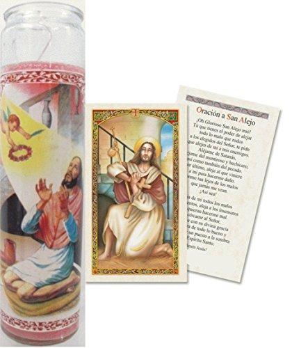 Oracion a San Alejo Tarjeta Plastificada Viene Con Veladora O Sola (2) by Gifts by Lulee, LLC