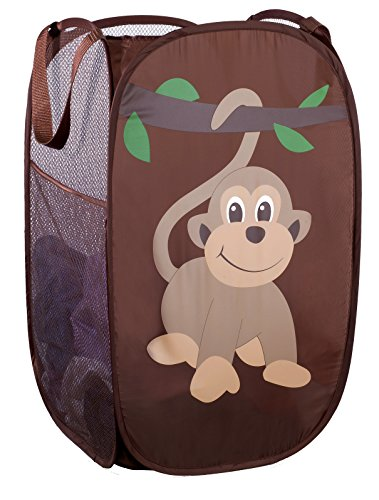 Kid Laundry (Mesh Popup Laundry Hamper - Portable, Durable Handles, Collapsible for Storage and Easy to Open. Folding Pop-Up Clothes Hampers Are Great for the Kids Room, College Dorm or Travel. (Monkey))