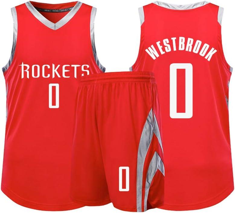 Atmungsaktives Basketballtrikot Aus Stoff Herren Trikot Rockets 0# Russell Westbrook Trikot Cooles /Ärmelloses Sportswear-Unisex-T-Shirt