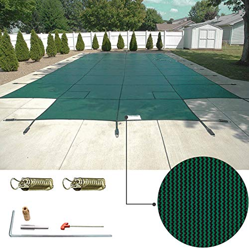 (Happybuy Pool Safety Cover 18'x36' Rectangle Inground Safety Pool Cover Blue Mesh with 4'x8' Center End Steps Solid Pool Safety Cover for Swimming Pool Winter Safety Cover)