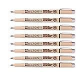 Sakura Pigma Micron Fine Line Pen High Light and Soft Head Pen Manga Drawing- Assorted 8 Pens Set (Black, PN-8 Pens)