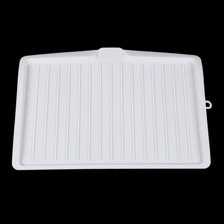 Vaorwne Escurreplatos de plastico Bandeja de Goteo de Estante de Fregadero de cuchilleria de Cocina Grande y Blanco