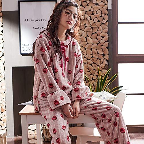 Fresa Coral Invierno Para Franela Mujer Dulce Olliuge Noche Y Camisones Cálido Espesante Cuello Pijamas Dormir Ropa Conjunto De Vellón Más Redondo Terciopelo gw6qnZ7zw