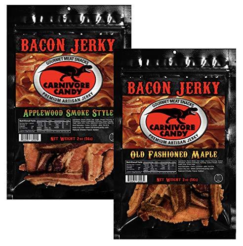 JURASSIC JERKYS Carnivore Candy (2) pk Bacon Jerky Sweet Sampler - Old Fashioned Maple - Applewood Smoke Flavor 1 ea - 2oz Bags. Got Bacon?