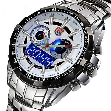 Fashion Watches Men Tvg Watches Famous Brand Silver Steel Dual Display Quartz Watch  Color   Blue  Size   One Size