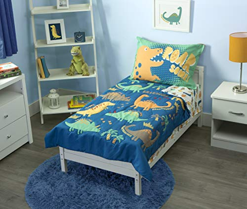 Funhouse 4 Piece Toddler Bedding Set - Includes Quilted Comforter, Fitted Sheet, Top Sheet, and Pillow Case - Dinosaur Roar Design for Boys Bed, Pack of 4
