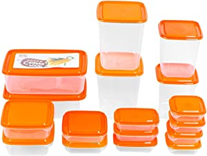 Food Storage Containers Set Airtight Plastic Glass Fridge Containers with Lids Fruit Pantry Storage Tray Food Fresh Box for Kitchen Orange 17pcs