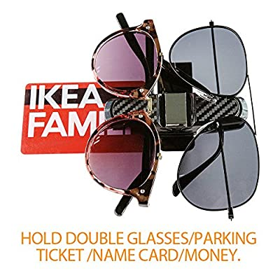 Sunglasses Holder for Car Sunglasses Visor Clip Wire Frame Sunglasses Holder Car Double Sunglasses/Glasses Holder For Car Sun Visor Conveniently Holds 2 pairs Sunglasses and Tickets Color Silver Gray: Automotive