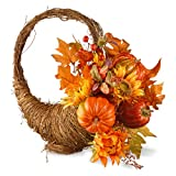 National Tree 22 Inch Woven Branch Basket with Maple Leaves, Sunflowers and Pumpkins (RAHV-Q060177A)