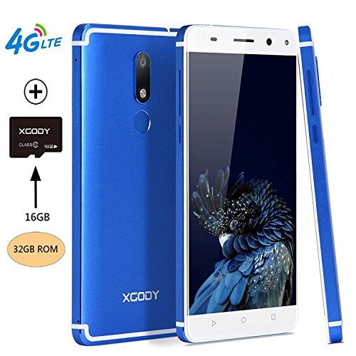Xgody D22 Smartphone Android 7.0 Nougat 5.5'' 4G LTE Quad Cord Unlocked 32GB(16GB ROM+16GB TFcard) 2GB RAM Dual SIM Dual Cameral 13 MP&8 MP (Azul(Blue)+TF) by Xgody