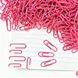 MaxFox 100PCS 28mm Hot Pink Office Documents Clip Metal & Plastic Coated Paper Clips for (Hot Pink)
