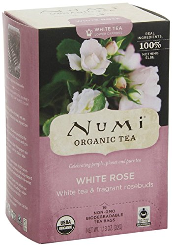 Numi Tea Organic Tea White Rose, Full Leaf White Tea (6x16 Bag ) by Numi
