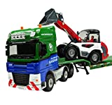 1 50 Scale Equipment Alloy Trailer Moveable Model Semi Truck with Skid Steer Loader Toy Vehicle Green