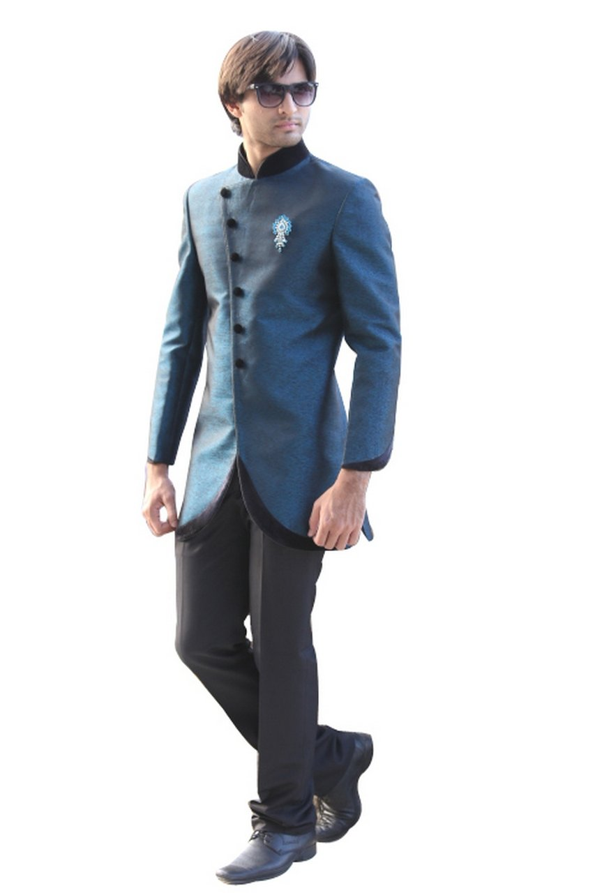 Evening Blue Indian Wedding Indo-Western Sherwani for Men by Saris and Things (Image #1)