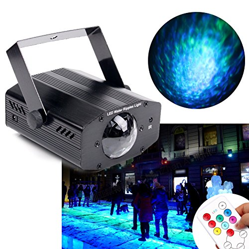 KOOT Water Ripple Light, 7 Colors Led Light Projector Halloween Christmas Decorations Water Wave Ripple Effect Lamp With Controller For Holiday Disco KTV Club