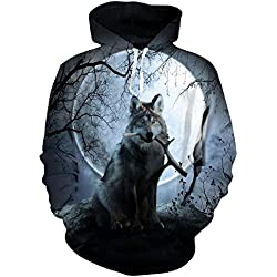 Uideazone Fashion Mens Fleece Hoodie Forest Wolf Moon Pullover Sweatshirts Hoody Large Wolf-6 Large