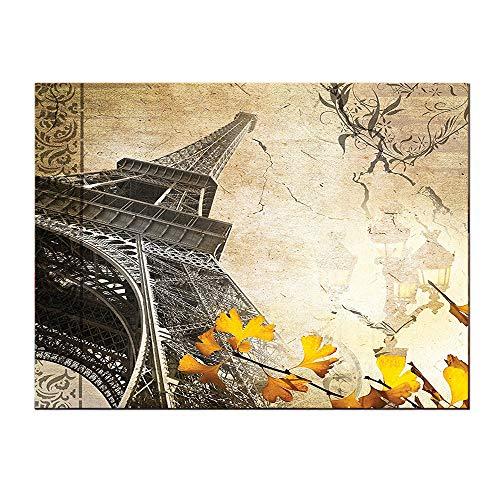 SATVSHOP Paintings for Wall decor-20Lx40W-Parisian City of omance Eiffel Fall Leav Paris Lover Fan Vintage Tower Art Yellow Orange.Self-Adhesive backplane/for Living Room corridors.