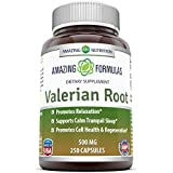 Amazing Formulas 100% Natural Valerian Root Dietary Supplement - 500mg - Promotes Relaxation, Supports Calm Tranquil Sleep (250 Capsules)