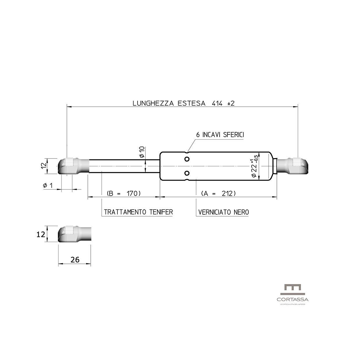Lunghezza 43,5 Cm Potenza 1350 N Coppia di Pistoni di Ricambio per Letto Contenitore con Testina A Pressione Cortassa