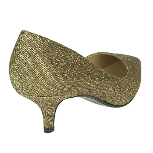 Party Brown Sparkly Ladies On Prom Shoes Kitten Heel Courts Bridal Sandals Evening Women Size Slip Wedding qxId5ZIw