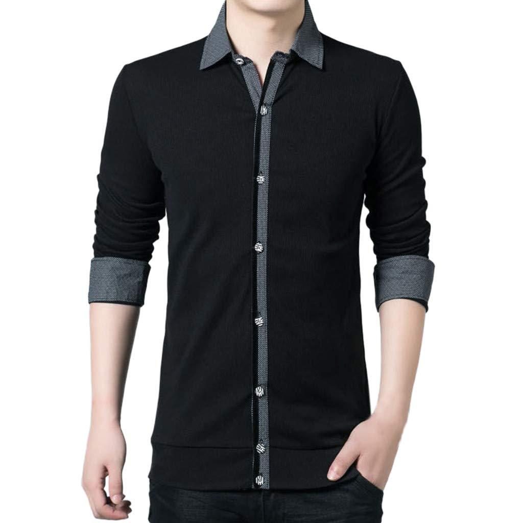 Men T Shirt T-Shirt, Men Button Shirt Business Long Sleeve Top Blouse Black Formal Top Party Wedding Shirt YOcheerful(Black,M) by YOcheerful (Image #1)