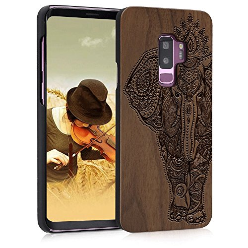 BTHEONE Wood Case for Galaxy S9 Plus, Wood Pattern [Laser Printing] Rugged [Dual Layer] High Impact Durable Back Wooden Case Cover for Samsung Galaxy S9 Plus(Elephant) (Iphone 5s Case Elephant Wood)