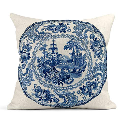 Tarolo Throw Pillow Covers China Staffordshire Blue White Transfer Printed Plate Classical C1850 Genuine Antiques Series Porcelain Linen Cushion Cases Home Decorative Pillowcases 18 x 18 inches