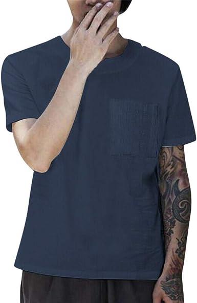 OPAKY Camisetas Hombre Manga Corta Hombres Verano Manga Corta con Cuello en V Bolsillo Sólido Casual Tops Playa Camiseta Fresca Camiseta Básica de Calidad diseño Original Hombre Caballero: Amazon.es: Ropa y accesorios