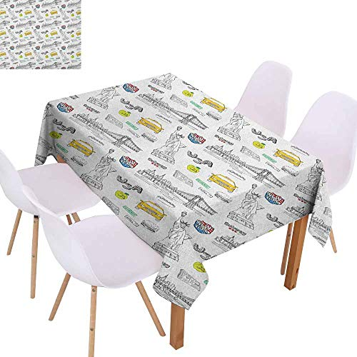 - Stain-Resistant Tablecloth USA Statue of Liberty New York City Hotdog Manhattan Bridge American Illustration Soft and Smooth Surface W60 xL84 Yellow Grey White