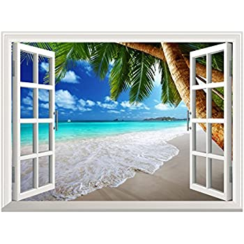 Uniquebella 3D Wall Murals Fake Window Decal Tropical Beach With Palm Tree  Creative Mural Home Decor Part 39