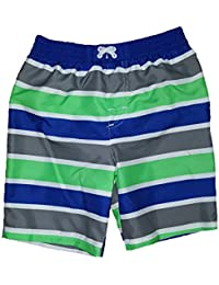 Glow Green w/ White Side Stripe Swim Short Trunk
