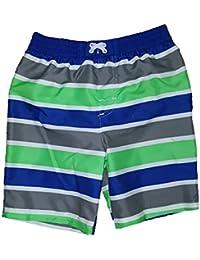 Glow Green w/ White Side Stripe Swim Short Trunk