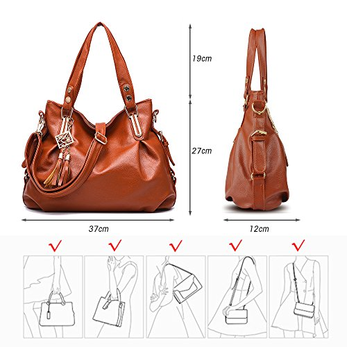 leather for shoulder hobos Brown for PU shopping work ladies bags BESTOU handbags women Brown Handbags totes ladies f0wRnq78nY